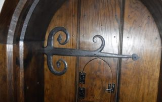 completed period door with hand made hinges