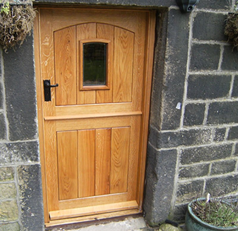 completed wooden split door