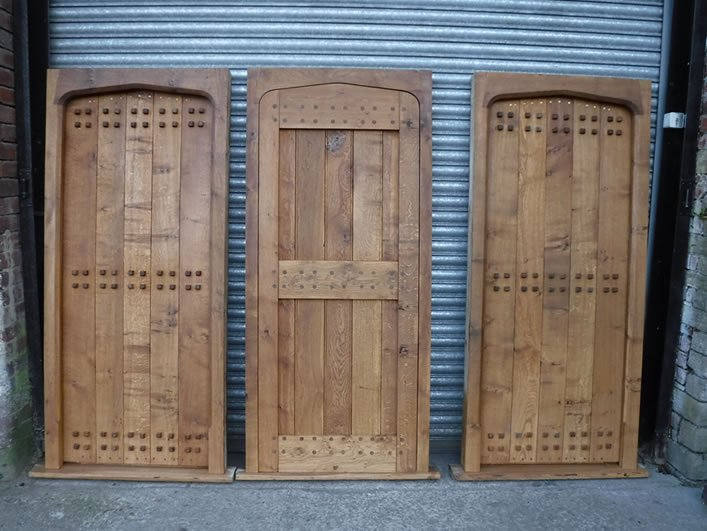 selection of cross boarded doors for a client in sussex