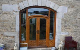 completed barn door in solid oak