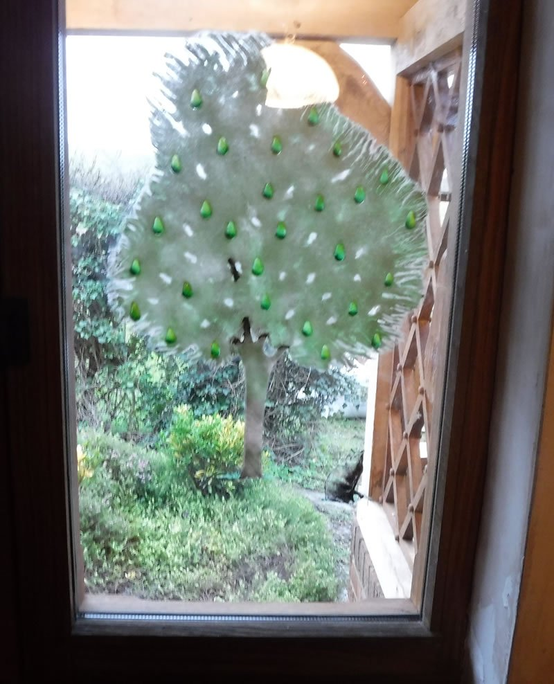 hand painted pear tree on the glass