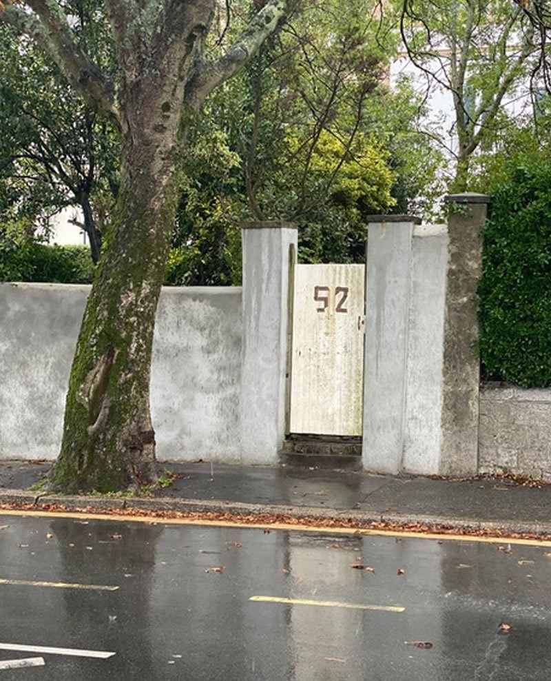 old white door used as a gate entrance
