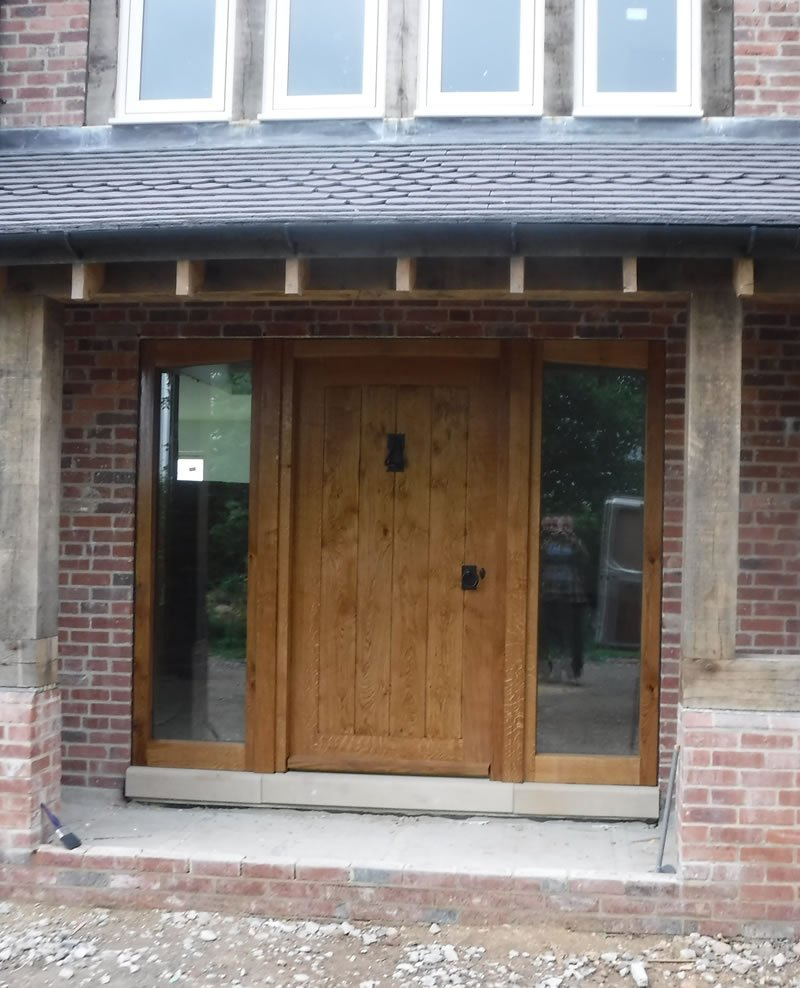 completed oak door for a farmhouse in derby